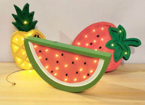 LED Lampe Wassermelone Holz