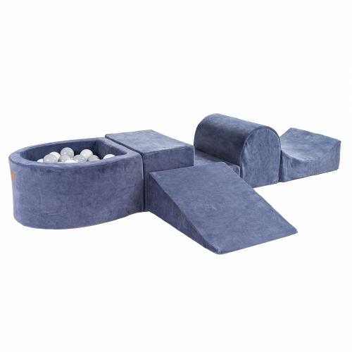 Schaumstoffbausteine blau-grau mit Mini-Bällebad