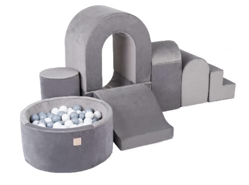 Schaumstoffbausteine großes Set grau mit Bällebad