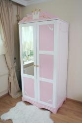 Kleiderschrank rosa-weiß Kutsche 2 T