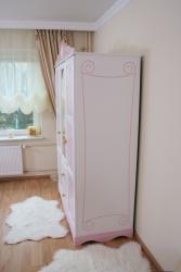 Kleiderschrank rosa-weiß Kutsche 3 T