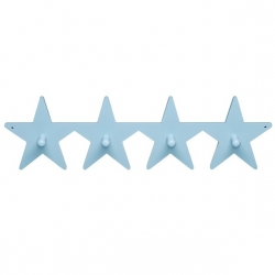4-er Kleiderhaken Stern hellblau