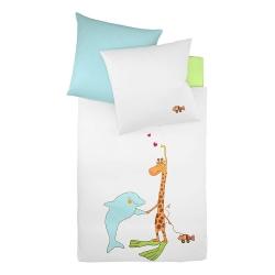 Fleuresse Babybettwäsche Giraffe und Delfin rosa