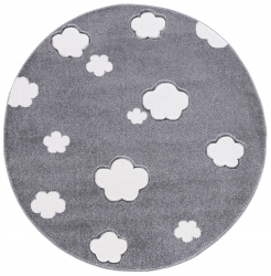 Runder Kinderteppich Wolken grau
