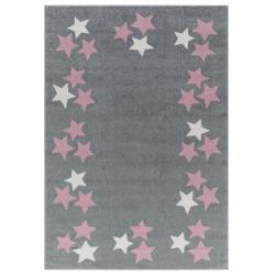Kinderteppich Sterne rosa-grau