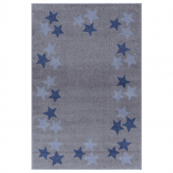Kinderteppich Sterne grau-blau