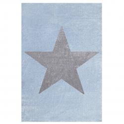 Kinderteppich Stern blau-grau