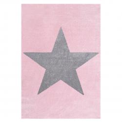 Kinderteppich Stern rosa-grau