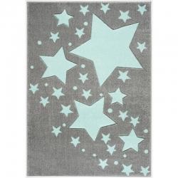 Kinderteppich Stern grau-mint