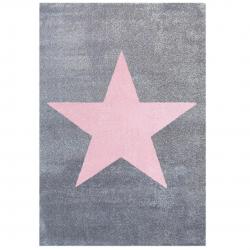 Kinderteppich Stern grau-rosa
