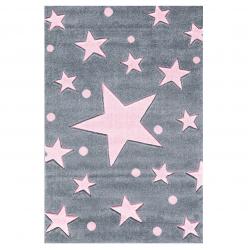 Kinderteppich Stars grau/rosa