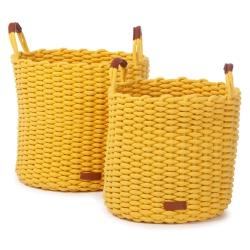 Große Flechtkörbe gelb 2er Set