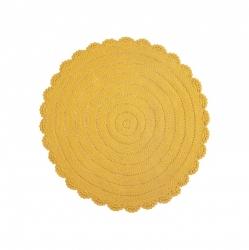 Teppich Häkeloptik gelb