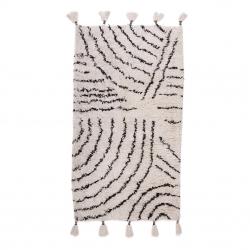 Baumwollteppich Berber schwarz-weiß Quasten