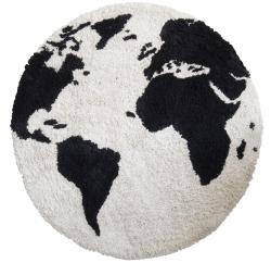 Teppich Welt schwarz-weiß