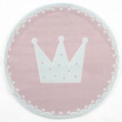 Runder Kinderteppich Krone rosa
