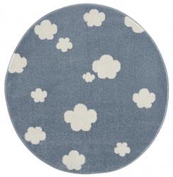runder Kinderteppich Wolken blau