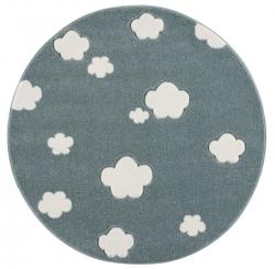 runder Kinderteppich Wolken mint