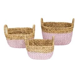 Wasserhyazinthe Korb 3er Set rosa-natur