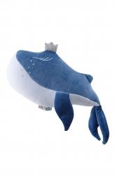 Samt Kuschelkissen Wal blau