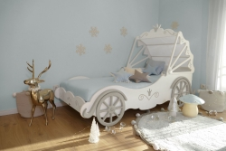 Kutschenbett weiß-silber