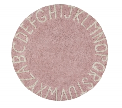 Waschbarer Kinderteppich ABC rosa