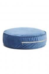 rundes Sitzkissen Samt blau