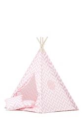 Tipi inkl. Spielmatte / Kissen Herringbone rosa