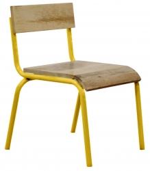 Kinderstuhl 2er Set Holz Metall gelb