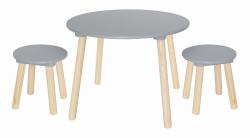 runder Kindertisch + Stühle grau