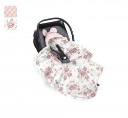 Uni Babydecke/Fußsack rosa Pfingstrosen