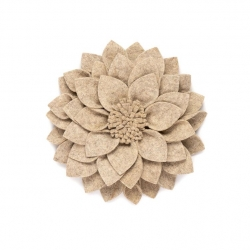 Filz Wanddeko Kuba Blume grau-natur