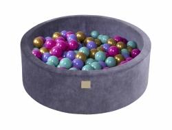 Bällebad blau-grau rund inkl. 250 Bälle
