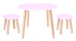 Kindertisch rosa rund mit Stühlen