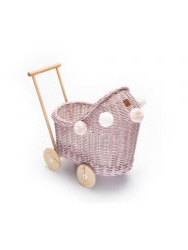 Korb Puppenwagen Weide pastellrosa