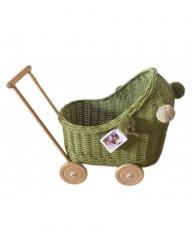 Korb Puppenwagen Weide olivgrün