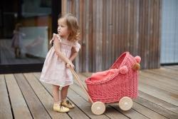 Korb Puppenwagen Weide melonenrot