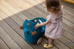 Korb Puppenwagen Weide petrol
