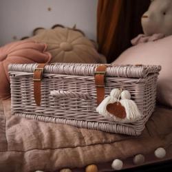 Rattan Koffer rosa Pompon
