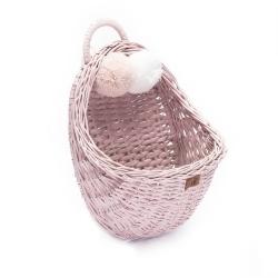 Rattan Wandkorb rosa Pompon