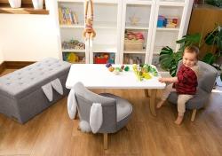 Kinder Sitztruhe Hasenohren grau