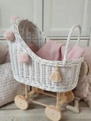 Korb Puppenwagen Weide weiß hoch
