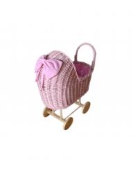 Korb Puppenwagen Weide rosa hoch