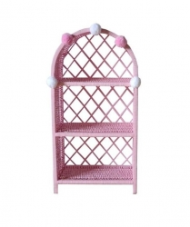 Standregal Rattan rosa breit