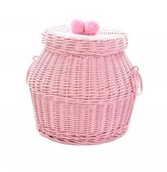 Rattan Aufbewahrungskorb mit Deckel rosa