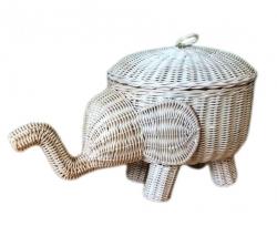 Rattan Aufbewahrungskorb Elefant