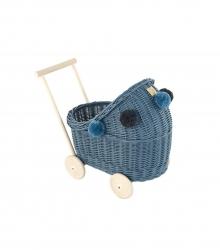 Korb Puppenwagen Weide blau