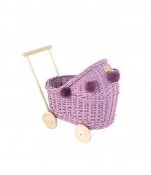 Korb Puppenwagen Weide lila