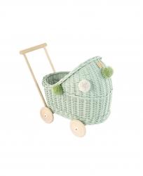 Korb Puppenwagen Weide hellgrün