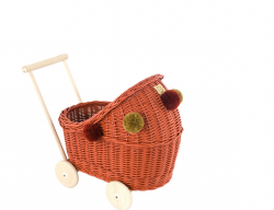 Korb Puppenwagen Weide orange-rot